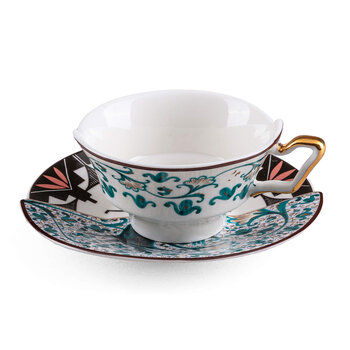 Hybrid Aspero Teacup & Saucer - Blue/White