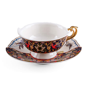 Hybrid Kannauj Teacup & Saucer - White/Brown