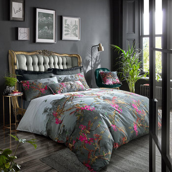 Hibiscus Duvet Cover - Charcoal