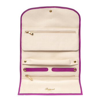Aria Smooth Leather Jewellery Roll - Lilac