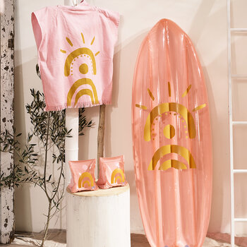 Ride With Me Surfboard Float - Desert Palms - Powder Pink