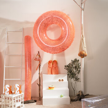 Inflatable Pool Ring - Glitter - Neon Coral