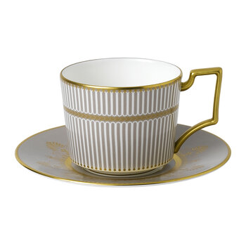 Anthemion Grey Teacup & Saucer - White/Gold