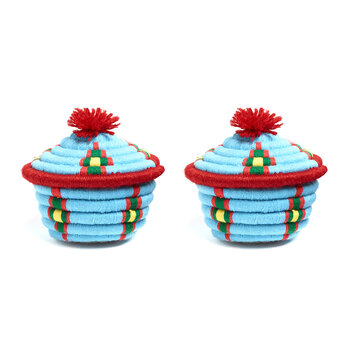 Dokht Round Basket - Set of 2 - Teal/Red