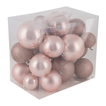 Set of 26 Assorted Baubles - Pink