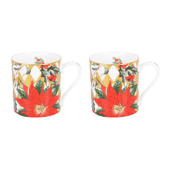Parterre Gold with Poinsettia Mug - Set Of 2 - Red