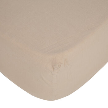 Pure Washed Cotton Fitted Sheet - Sand