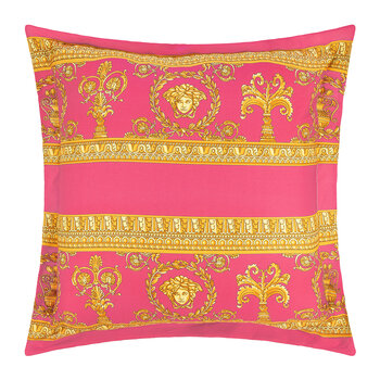 Barocco&Robe Double Face Reversible Pillow - Pink/White/Gold