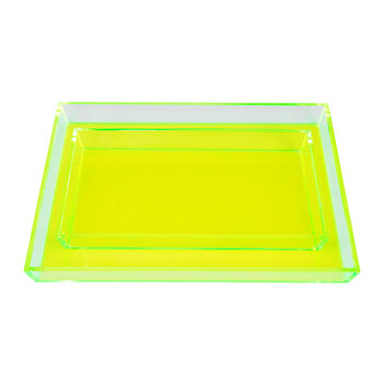 Monette Acrylic Tray Set - Clear/Chartreuse