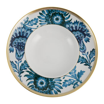 Gold Exotic Soup Plate - Blue/White
