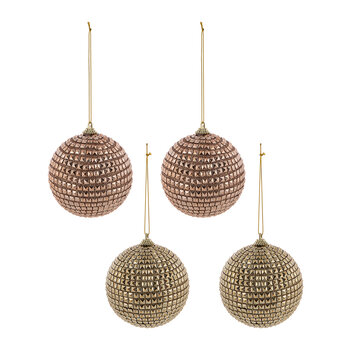 Spike Ball Tree Decoration - Set Of 4 - Gold/Copper
