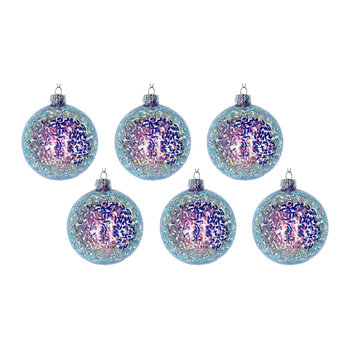 Sequins/Clear Glass Tree Decoration - Set of 6 - Lilac/Pink
