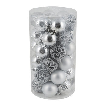 Set of 37 Assorted Baubles - Silver