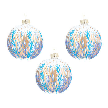 Clear Glass Ball With Seaweed Tree Decoration - Set of 3 - Blue/Gold