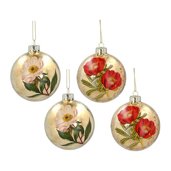 Glass Ball With Flowers Tree Decoration - Set of 2 - Goldleaf
