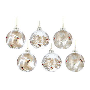 Glass Ball With Gold Leaves/Bee - Set of 6 - Clear