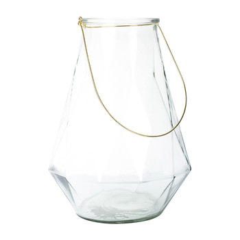 Glass Lantern with Gold Handle - 16.5/27.5x37cm