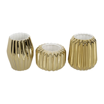 Gold Fluted Votives - Set of 3