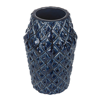 Textured Ceramic Navy Vase