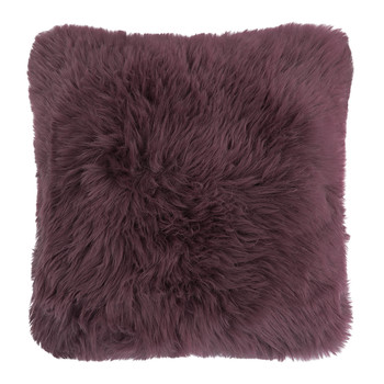 New Zealand Sheepskin Cushion - 50x50cm - Aubergine
