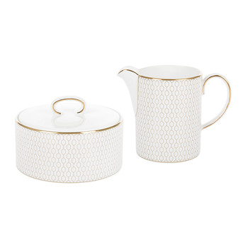 Arris Sugar Pot & Creamer - White