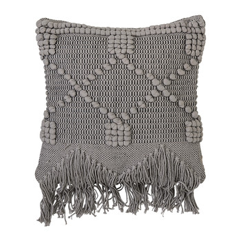 Gray Tassel Cotton Pillow - 50x45cm