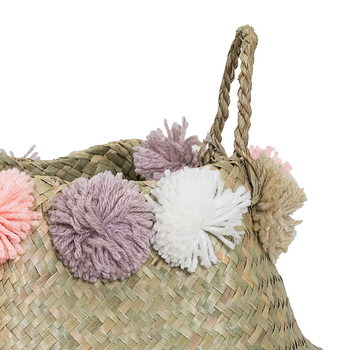 Seagrass Basket with Pom Poms - Multi
