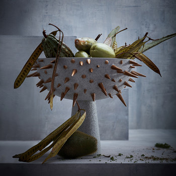Celestial Bowl on Stand - Grey & Gold - Large