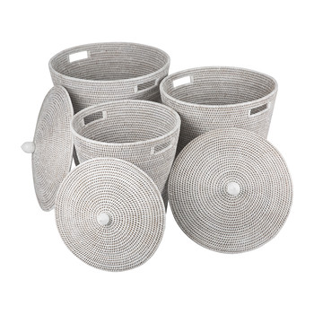 Laundry Baskets - Set of 3 - White