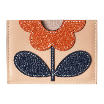 Giant Flower Leather Card Holder - Marshmallow