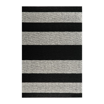 Large Stripe Shag Rug - Black/White