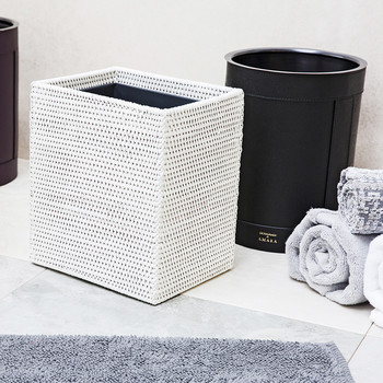 Dalton Rattan Rectangular Waste Bin - White