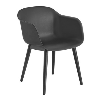 Fiber Armchair - Wood Base - Black