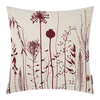 Seed Heads Cushion - 45x45cm - Natural/Wine