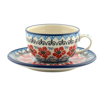 Cup & Saucer - Red Violets