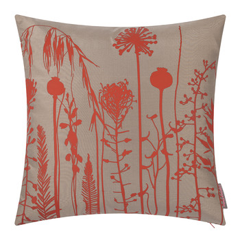 Seed Heads Pillow - 45x45cm - Pebble/Vermillion