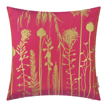 Seed Heads Cushion - 45x45cm - Hot Pink/Antique Gold