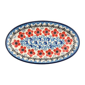 Oval Dish - Red Violets