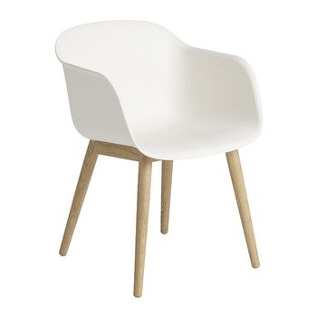 Fiber Armchair - Wood Base - White