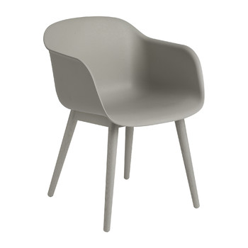 Fiber Armchair - Wood Base - Grey