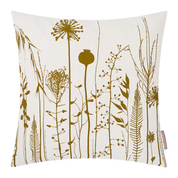 Seed Heads Cushion - 45x45cm - White/Mustard