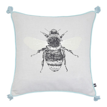 Bumblebee Cushion with Tassels - 40x40cm - Silver