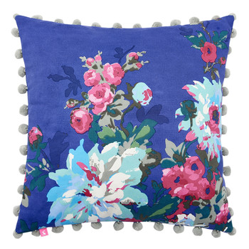 Chevening Cushion with Trim Detailing - 45x45cm - Deep Blue Floral