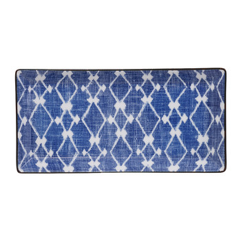 Shibori Blue Rectangular Plate