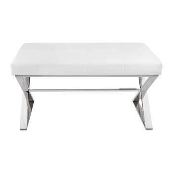 Leather Seat Bench - White