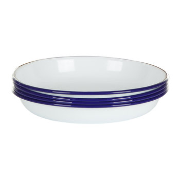 Deep Plate - Set of 4 - Original White with Blue rim
