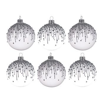 Winter White Glitter Baubles - Set of 6