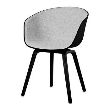 About A Chair AAC22 with Front Upholstery - Black Shell