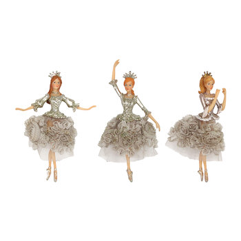 Fabric Skirt Fairy Tree Decorations - Set of 3