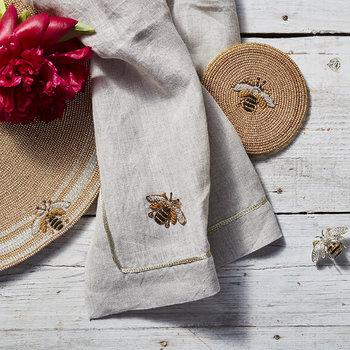 Bee Napkin - Set of 2 - Flax